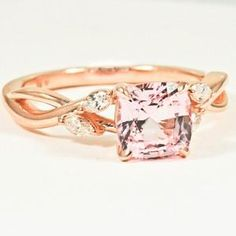 14K Rose Gold Sapphire Willow Diamond Ring - Set with a 6.5mm Cushion Peach Sri Lanka Sapphire #BrilliantEarth