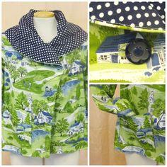 Shawl Collar Jacket Green and Blue Americana Farm by chelsiaberry, $175.00