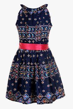 516c33e3f1e28f Buy Naughty Ninos Navy Printed Fit   Flare Dress for Girls Clothing Online    Tata CLiQ