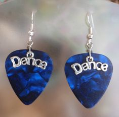Dance Guitar Pick Earrings - Available in blue, turquoise, pink, purple, green, multi, gold, white and red. $6.00, via Etsy.
