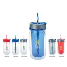 """Cool Gear (TM) Mason Tumbler - 16 oz 46004 - Cool Gear (TM) Mason Tumbler - 16 oz. Novelty mason jar for parties and BBQ's. Double-wall insulation. Flip spout with straw. Cool Gear (TM) molded logo for authentic look. 16 oz. capacity when filled to the rim. 3 1/8"""" dia. x 6 7/8"""" h. BPA Free. #propelpromo"""