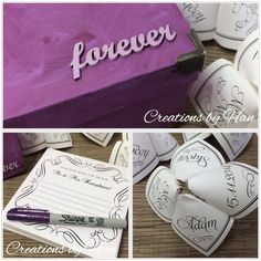 Custom made Advice cards, complete with a little customised box to keep them in, and a purple sharpie.