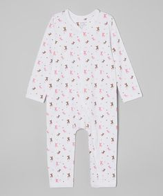 White & Pink Bunny Organic Playsuit - Infant   #affordable #infant #baby #organic #clothes
