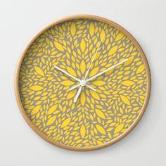 Yellow Flower explosion wall clock on @society6  by Maria Caballer #deco #decor #decoration #decoracion #clock #reloj #leaves #color #pattern #amarillo #yellow #gray #gris #diseno #design