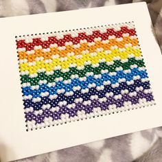 #papersmooches #crossstitch #paperstitching #rainbow #roygbiv #cardmaker