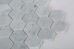 "Bianco Carrara (Carrera) 2"" Hexagon Natural Stone Mosaic Polished"