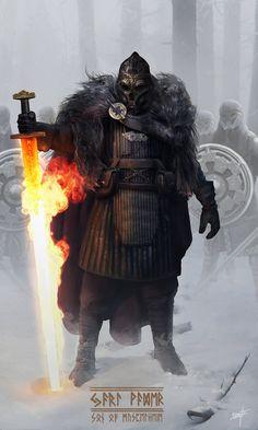 Jarl Vader, Son of Muspelheim – fantasy character concept by Nicolas Lizotte nordic mythology norse Fantasy Warrior, 3d Fantasy, Medieval Fantasy, Fantasy Artwork, Fire Warrior, Viking Warrior, Anime Fantasy, Character Concept, Character Art