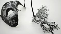 New! His & Hers Phantom Masquerade Masks [Black Themed] - Bestselling Black Half Mask and Laser Cut Masquerade Mask with Diamonds