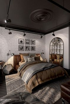 Inspirations Mens Bedroom Ideas - All Bedroom Design Industrial Bedroom Design, Industrial Interiors, Design Bedroom, Industrial Chic Bedrooms, Industrial Decorating, Modern Interiors, Decoration Bedroom, Home Decor Bedroom, Bedroom Ideas