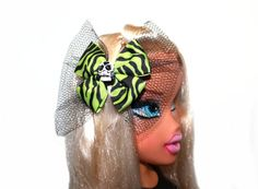 Sugar Skull Green Zebra Print  Bow Hair Clip  by MissSweetCheekz, $7.00   #sugarskull #Halloween #Hairclip