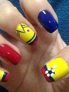 colombia futbol accesorios - Buscar con Google Hair And Nails, My Nails, Football Nails, Shoe Nails, Crazy Nails, Nail Tutorials, Mani Pedi, Manicure And Pedicure, How To Do Nails