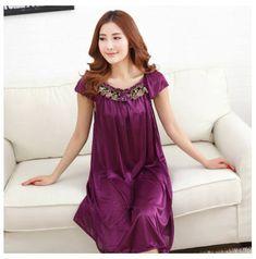 Free Shipping 2017 New  summer style  silk temptation Nightgown Nightdress pijama Ladies Sleepwear Women nightwear AW8287
