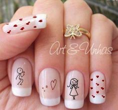 art manicure with and Love Nails, Fun Nails, Pretty Nails, Gelish Nails, Nail Manicure, French Tip Nail Art, French Tips, Butterfly Nail Art, Short Square Nails