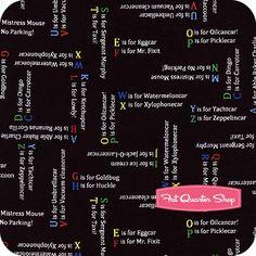 Busytown A to Z Black Alphabet Sentences Yardage SKU# 45698-J - Fat Quarter Shop