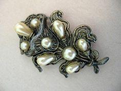 Vintage Large Art Nouveau Faux Pearl Lily Flower Brooch