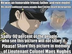 ":') For my ""Full Metal Alchemist"" fellow fans. For the sheer love and adoration of Maes Hughes! a little cheesy message but I love Hughes so much!<<< holly crap do you realize how heart broken I was when this happened, I really liked Hughes ╥﹏╥ Full Metal Alchemist, Der Alchemist, Manga Anime, Got Anime, Anime Art, Fullmetal Alchemist Brotherhood, Roy Mustang, Otaku, Animes On"