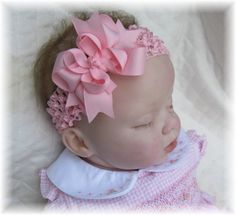 Infant Pink Unique Hair Bow Headband Bowband Baby Girls Toddler Wedding Portrait First Birthday Newborn or Clip Bows