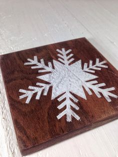 Wood Drink Coasters Set Of 4 Walnut Snowflake By SodaCreek