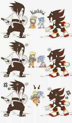 Naruto and Sonic. :D Sasuke and Shadow. :D Naruto funny Naruto Y Boruto, Naruto Sasuke Sakura, Naruto Cute, Naruto Funny, Sasunaru, Narusasu, Shadow The Hedgehog, Sonic The Hedgehog, 5 Anime
