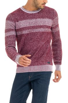 Knitted sweater with colored blocks | 115460 Red | sauce