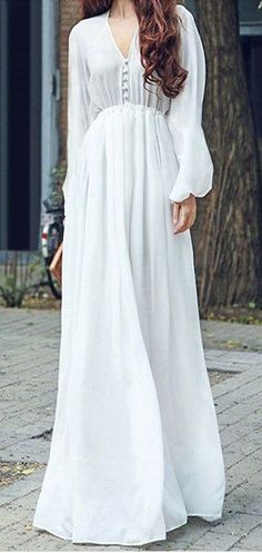 1d902c35231 long sleeve flowy chiffon maxi dress Long White Flowy Dress