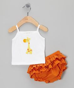 Take a look at this White Giraffe Tank & Orange Ruffle Diaper Cover by Victoria Kids on #zulily today!