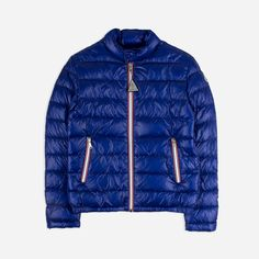 Boys Showrerproof 'Rigel' blue down jacket by Moncler. Discover the latest boys designer clothes and accessories from Base Fashion and enjoy free delivery & returns.
