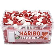 Haribo Heart Throbs are one of the most popular retro sweets on the planet.That are made by Haribo.They have a foam underside and a delicious gummy top.in a tasty fruity flavour.Each tub contains 300 gummy heart throbs.This is one of many of the Haribo ra Haribo Candy, Haribo Sweets, Party Sweets, Wedding Sweets, Tubs Of Sweets, Mars Chocolate, Retro Sweets, Nutrition, Food Goals