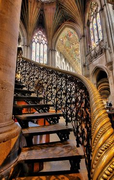 ensphere: Ely Cathedral, London WOW!!!…what a GRAND staircase!!! Love the ironwork!!!