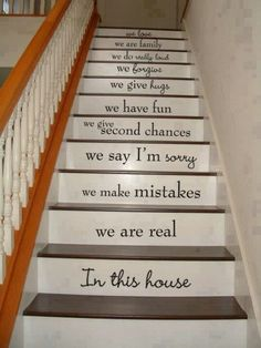 Love is patient. Love is patient. Love is patient. Love is patient. Stairway Art, Stairway Storage, In This House We, House Inside, House Stairs, Basement Stairs, Wood Stairs, Front Stairs, Stairs Vinyl