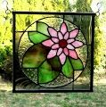 """""""Pretty Pink Lily Pad"""" Lily Pad and Pink Flower Stained Glass Panel"""