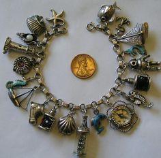Vintage Antique Sterling 800 Silver Nautical Sea Ocean Charm Bracelet 20 Charms | eBay
