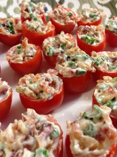 Bacon Stuffed Cherry Tomatoes : a good way to make use of the cherry tomato surplus!