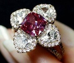 GRAFF-2.26-carat, fancy purplish-red, modified octagonal-cut diamond. Previously unnamed, this diamond became the GRAFF Purplish-red diamond after it was purchased by Laurence Graff at the Christie's auction.
