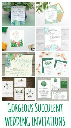 22 Succulent wedding invitations you'll love! Succulents are showing up in favors, decor, bouquets and more. Show off your style from the start with these wedding invites.