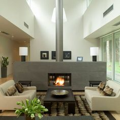 Fireplace in the middle of Living Room