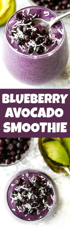 This super creamy blueberry avocado smoothie is packed with protein, healthy fats, vitamins and antioxidants. Gluten-free and easily made vegan, it makes a healthy and delicious breakfast or snack runningwithspoons. Blueberry Avocado Smoothie, Smoothies Vegan, Smoothie Drinks, Breakfast Smoothies, Smoothie Bowl, Detox Drinks, Blueberry Breakfast, Fruit Smoothies, Breakfast Healthy