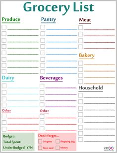 Wonderful Free Printable Grocery List! Intended Printable Grocery List Template Free