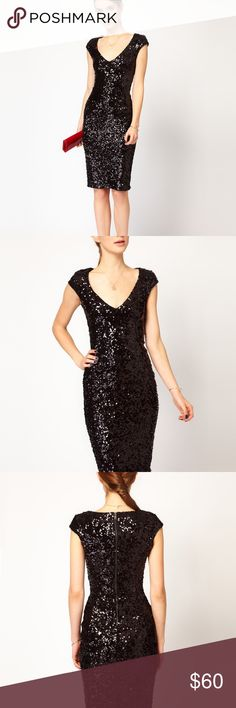 """French Connection 🖤 Sequin Dress So sad I've grown out of this beauty I bought on my honeymoon in Malta! - has a little stretch so can fit a 6 as marked but was more comfortable when I was a true 4 - covered in black sequins, satiny inside lining - Exposed back zip, Midi Length - armpit to armpit: 15"""", shoulder to hem: 42"""", 32"""" waist - Couple loose threads you can snip but no missing or loose sequins. A little bit of pilling on the inner lining from friction with the sequined hem but not at…"""