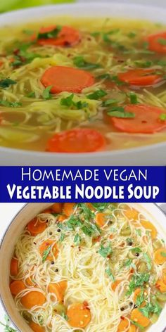 Homemade vegan vegetable noodle soup from scratch featuring classic angel hair long noodles, carrot, celery and tons of fresh Italian parsley. Vegetarian Vegetable Soup, Vegetable Noodle Soup, Vegetarian Recepies, Veggie Soup, Vegan Soups, Vegan Recipes, Noodle Soups, Vegetable Stock, Easy Recipes