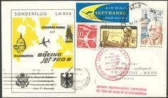 Germany, Flugpost 13.11.1962 , Lufthansa-Sonderflug LH 854, von Köln/Bonn nach Washington DC, es war der Flug mit dem Bundeskanzler Dr. Konrad Adenauer auf Einladung des Präsidenten John F. Kennedy, sehr seltenes und historisch interessanter Beleg, Sieger nicht bekannt. Price Estimate (8/2016): 90 EUR.