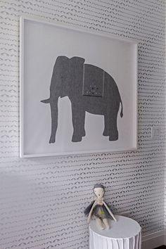 Modern Elephant Nursery Print with Elephant Wallpaper