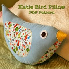 "This listing is for a PDF pattern that comes to your email.  You will receive the email as soon as you complete your order. Start sewing right away! This super sweet bird pillow is not only simple but really fun to make. Watching it all come together is so cute! Perfect for a baby in soft sweet fabrics. Perfect for a big kid room make over in brighter colors and textures. Cute even in a teen room or dorm room in trendy designer fabrics.Katie Bird measures 15.5"" long (fr..."
