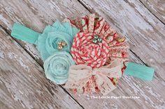 Baby Girl Headbands - Baby Girl - Hair Bow - Coral and Aqua - Paradise - Vintage Baby Headband - Baby Headbands - Newborn via Etsy