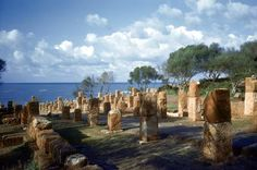 Tipaza, Algeria. Punic town; Roman colony from 1st Century. A.D.  Street with pillars for a roof.  Photo, undated.