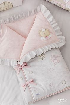 The Ursa Princesa Baby Carrier is perfect for snuggling during naps! Its details with embroidery, bows and ruffles leave the piece still . Baby Swaddle Blankets, Baby Girl Blankets, Baby Girl Quilts, Baby Quilts, Baby Knitting, Crochet Baby, Baby Shower Sweets, Baby Doll Nursery, Baby Sheets