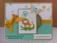 Karen Thomas: Cards and Crafts with Karen  – PCCCS #135 - 3/13/15.  (SU: Zoo Babies, Kinda Eclectic stamps