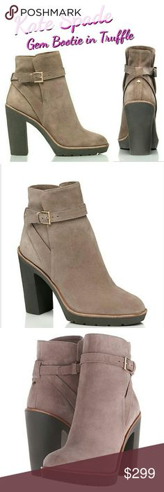 """♠New♠ Kate Spade Gem Booties in Truffle New, never been worn Suede is ULTRA soft! Perfect condition, no defects Size 7.5 Color is Truffle  COMPLETELY SOLD OUT ON KATE SPADE WEBSITE!!!  Details: -Suede with rubber heel -3.5"""" heel -Adjustable belted strap with buckle closure -rounded toe kate spade Shoes Ankle Boots & Booties"""