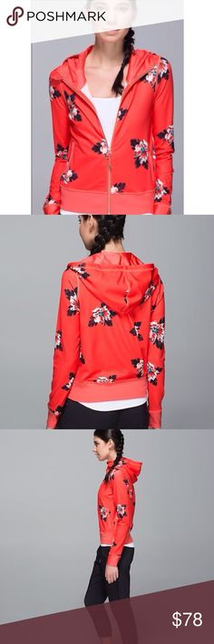 Lululemon Atomic Floral Namaskar Hoodie Such a fun print! VERY hard to find... Size 4😉Good condition w/ no pilling...normal lulu signs of wear. Luon material. Funky 'foldover' in back, thumb holes, zip pockets. 14 in shoulder to shoulder, 18 pit to pit, 14 pit to hem. Banded hem & cuffs. NO OFFERS🚫PRICE FIRM🚫BUY IT NOW OPTION ONLY🚫I ONLY TRADE FOR CASH😉 lululemon athletica Jackets & Coats