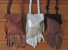 Medicine Bags, Leather, Handmade by FolkOfTheWoodCrafts, $25.00